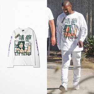 Kanye West Coast T Shirt Long Sleeve Men Hip Hop High Street Lit To Pop Tanes Print Vikings T shirt Drake Souls