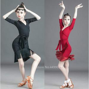 2020 Kids Baby Girls Latin Dance Dress Ballroom Dance Competition Dresses Bandage Tassel Sleeveless V-neck Fancy Salsa Costume