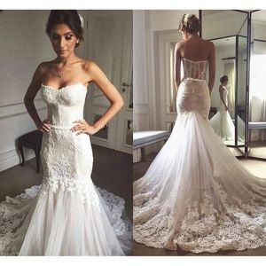 2021 Новое одетое как африканская невеста кружева без бретелек свадьба русалка разведка поезд невесты платье на заказ для черных девушек HY74