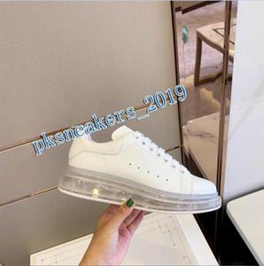 Top Quality 2020 couro genuíno Sneakers das mulheres dos homens Moda Branca Plataforma Couro Calçados Air Cushion Sole Shoes Casual Box