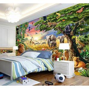 Custom Photo Mural Non-woven Wallpaper 3d Cartoon Grassland Animal Lion Zebra Children Room Bedroom Home Deco jlluOh bdebag