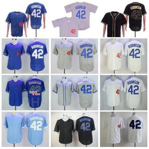 1955 Vintage Béisbol 42 Jersey Jerseys Bordado y cosido FLEXBASE FOOL BASE HOGAR AJUSTE AZUL BLANCO NEGRO GRIS