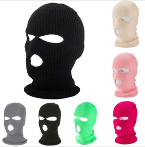 3 hole Face masks winter warm full face knit beanie hat outdoor motorcycle bike cycling Balaclava hats face cover windproof CS Masks scarf