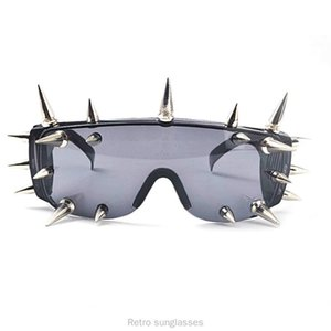 FML Black Sun Mask Peice Visor coupe-vent surdimensionné Femmes Lunettes Un Glasse Big Frame Lunettes rétro Lunettes de soleil Shield Kkkqo