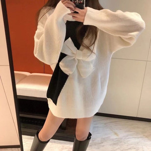 2020 new elegant matching color bowknot sweater knitted dress in the long style of fashion joker contrast color long sleeve