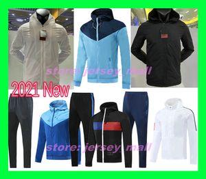 20 21 Paris Mbappe Soccer zipper windbreaker long sleeve jacket coat 2020 2021 winter sports football windbreaker hoodie pants Training suit