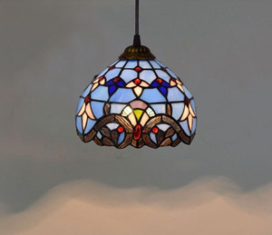 European 8-inch vintage tiffany hanging lamps blue stained glass chandelier bedroom balcony corridor glazed pendant lamp