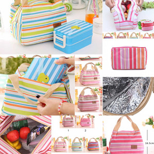 Stripe Bags Insulated Tote Bag Picnic Thermal Food Lunch box for Women Girls Ladies Kids UABO