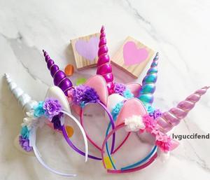 Orejas princesa pelo de la venda de Halloween del unicornio gato diadema niños escenario de funcionamiento Pelos aro multicolor nuevo llega el 7 8TD C R