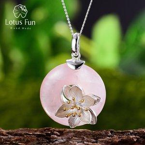 Lotus Fun Real Real 925 стерлингового серебра натуральный розовый камень ручной работы дизайн изысканные украшения Lotus шепот от ожерелья LJ201016