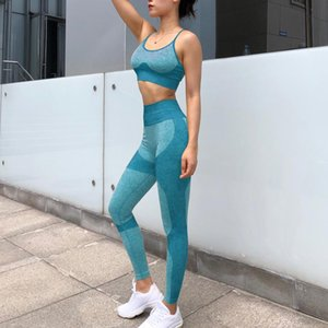 Designer Womens Yoga Set Fitness Clothing Sportswear Woman Gym Leggings Padded Push -Up Strappy Sports Gymshark Suits Bra Long Pants Sexy