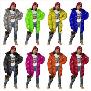 Designer Damen Cotton-padded Mantel Langer Jacken-Winter-warme Oberbekleidung PU Leuchtende Farbe Zipper Fashion Winddichtes Outdoor-Ski Coats F110408