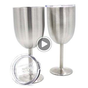 X98G 10 once di vino Calice occhiali a doppio strato in acciaio inox isolamento calice con coperchio esterno idratazione ingranaggi tazza ventose