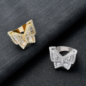 Fashion CZ Butterfly Rings Paved Full Bling Iced Out Cubic Zircon Rings Hip Hop Diamond Finger Animal Charm Bang Ring for Women Men Jewelry