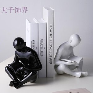 Nordic creative characters books rely on simple living room Xuanguan TV cabinet furnishings sample room desk Decoration