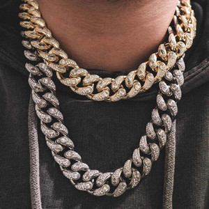 16mm wide Hip Hop Drop Watch Cubic Zirconia Bling Iced Out Round Cuban Miami Link Chain Necklaces for Men Women Rapper Jewelry
