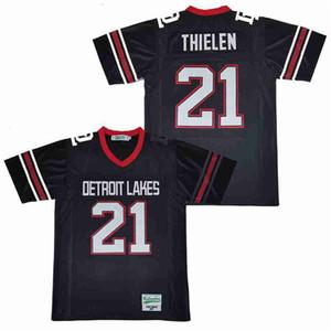 Detroit Lakes High School di 21 Adam Thielen Jersey uomini caldi di calcio della squadra traspirante Lontano Blu Navy puro cotone Tutti cucita di buona qualità