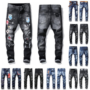 21ss Herren Abzeichen Rips Stretch Designer Jeans Distressed Ripped Biker Slim Fit Gewaschene Motorrad Denim Men s Hip Hop Fashion Man Pants