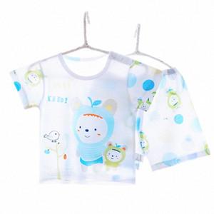 2020 pijamas de los niños super suave Verano fresco de fibra de bambú manga corta ropa de noche de los niños Pijamas sistemas de la muchacha del bebé pijamas de Navidad Pa B3MW #