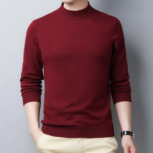 Homens 100% Wool Sweater 2020 Outono Inverno Multicolors Metade Turtleneck Pure Cashmere malha Camisolas Camisolas