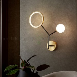 Modern Led Ball Wall Lamp Bedroom Bedside Aisle Corridor Restaurant Living Room Copper Villa Apartment Stair Nordic Sconce Lamp Lighting Fixture