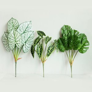 Artificial Green Plant Turtle Leaf Home Garden Outdoor Decoration Green Acrylic Leaves Plastic Fake Plant Tropical Leaves