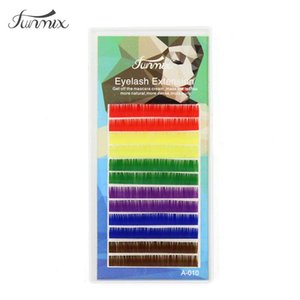 Brand 0.1 C D individual mix colors eyelash Natrual soft candy Color fake eyelash extension eye makeup colorful false