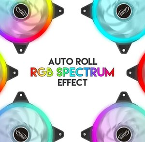 Bunte 120mm Round RGB CPU Doppel Blende Lüfter LED leuchtende PC Case Chassis silent Fans