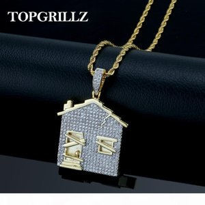 TRAP House Pendant Necklace Men Iced Out Cubic Zirconia Chains Copper Material Hip Hop Punk Gold Silver Color Charms Jewelry