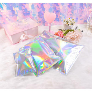 Laser Color Aluminum Foil Self Adhesive Retail Bag Candy Cookies Mylar Foil Packing Pouch For Grocery Crafts Pack jllHCf xmh_home