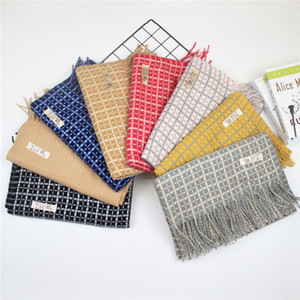 2020 new thick warm tassel color matching scarf Korean version of warm contrast striped scarf imitation cashmere