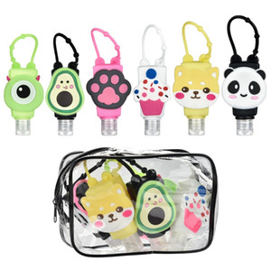 6 Pack Portable Cartoons Travel Bottles Set,Leakproof Silicone Refillable Empty Bottles Hand Sanitiser Containers Holders for Children