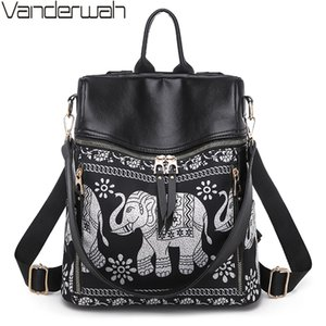 New Fashion Elephant print Women Bags High Quality Waterproof Leather Backpack Multifunction Large Capacity Ladies Shoulder Bag 201012