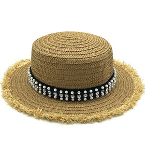 New Summer Flat Sun Hats For Women Chapeau Feminino Straw Hat Panama Style Cappelli Side With Pearl Beach Bucket Cap Girl Topee qylClk