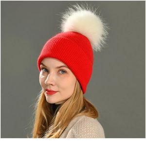 New Women's Hat Winter Beanie Knitted Hat Angora Rabbit Fur Bonnet Girl 's Hat Fall Female Cap With Fur Pom jllzNY