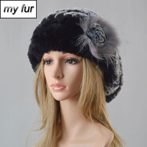 Mulheres Moda malha Real Rex Fur Hat 100% Natural Real Rex Fur Caps Lady inverno quente Chapéus Genuine