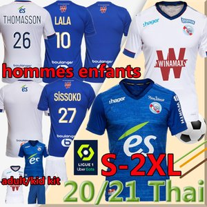 Mailleot de Football Shirts RC Strasbourg Alsace Soccer Jerseys 20 21 Djiku Thomasson Lala Mothiba Hommes Enfants الرجال الاطفال