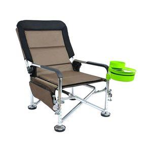 Fold Pêche Chair Set Multi-fonctionnel Loisirs de loisir de plein air Camping Chaises de camping Lightweight NW 4.1kg Alliage d'aluminium Table à pêche en alliage Q0111