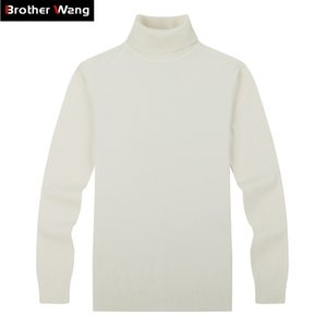 Brother Wang Marque Homme Pulls occasionnels Pulls Classic Style Fashion Slim Business Turtleneck Pull Mâle Blanc Blanc 201117