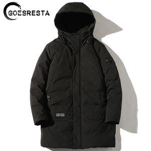 Chaqueta GOESRESTA marea hombres de la marca de Down 90% el ganso largo espesado de la manera salvaje calle del invierno caliente abajo chaqueta de los hombres 201022