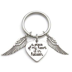 Memorial Jewelry Un pezzo del mio cuore è in paradiso Keychain Angel Wing Key Catena regalo Memorial DHE3920