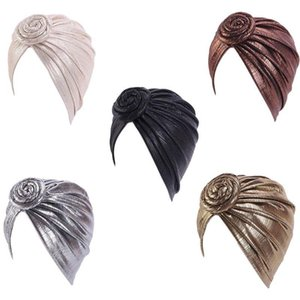 Women Muslim Spiral Knot Flower Turban Cap Shiny Metallic Pleated Pre-Tied Bonnet Headwrap Chemo Hat Stretchy Hair Cover