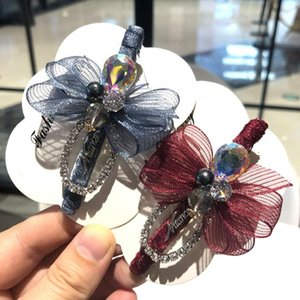 New Luxury Cloth Art Adult Bow Hair Clip Rhinestone Duckbill Clips Hairpin Headdress for Women Gifts Hair Accessories Jewelry