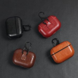 Leather Case for Airpods Pro PU Protector Cover Anti Lost Hook Clasp Keychain Case for Earpods Earbuds Hook with retail package