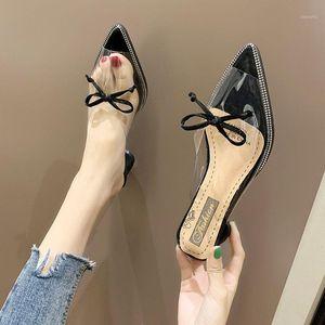 Donne carino Black Bow Tiove PU in pelle puntata a punta con tacco alto signora classica scarpe tacco trasparente giallo per ufficio E58711