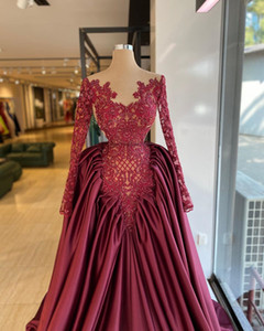 2020 Arabic Aso Ebi Burgundy Luxurious Lace Evening Dresses Beaded Sheer Neck Prom Dresses Vintage Formal Party Second Reception Gowns ZJ22