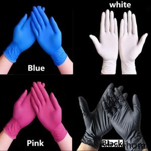 Látex desechable Guantes de nitrilo Negro Azul Blanco Pink Glove Guante de PVC Belleza Dolor de cabello Tinte de goma Herramientas de cocina Experimento Tatuaje Limpieza Guantes