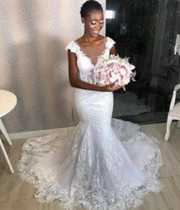 Gorgeous Mermaid Wedding Dresses African Cap Short Sleeve Lace Appliques Bridal Gowns Sheer Neck Customsize Long Fashion Wedding Dress