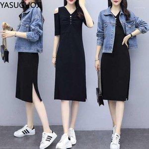 YASUGUOJI Two-piece Set Women 2020 Spring Female Black Half Sleeve Long Dress+Denim Jacket Highstreet Dress Suits Women1