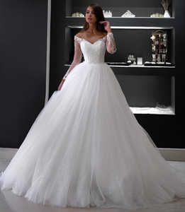 Off Shoulder Sequins Long Sleeves Ball Gown Wedding Dresses 2021 with Lace Appliques Sweep Train Tulle Plus Size Bridal Gowns